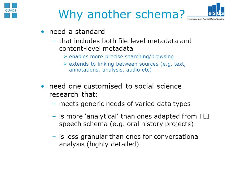 need a standard –that includes both file-level metadata and content-level metadata enables more precise searching/browsing extends to linking between sources (e.g.