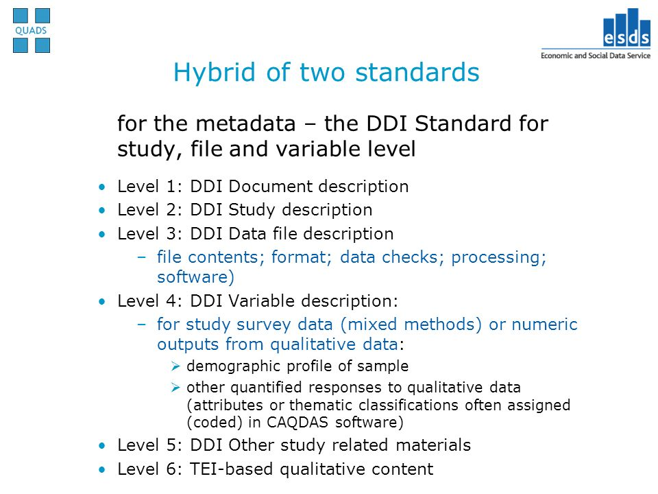 Hybrid of two standards for the metadata – the DDI Standard for study, file and variable level Level 1: DDI Document description Level 2: DDI Study de