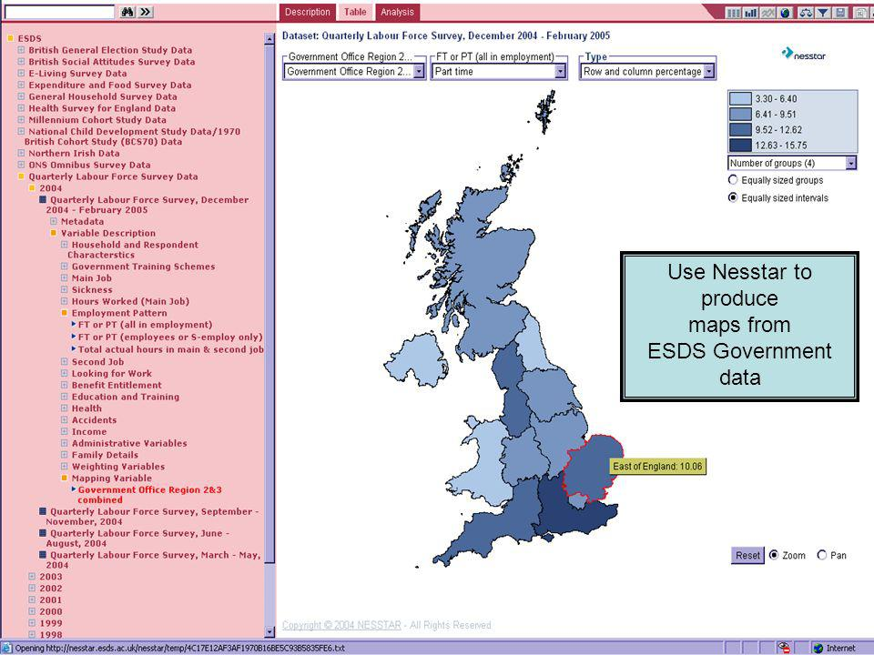 Use Nesstar to produce maps from ESDS Government data
