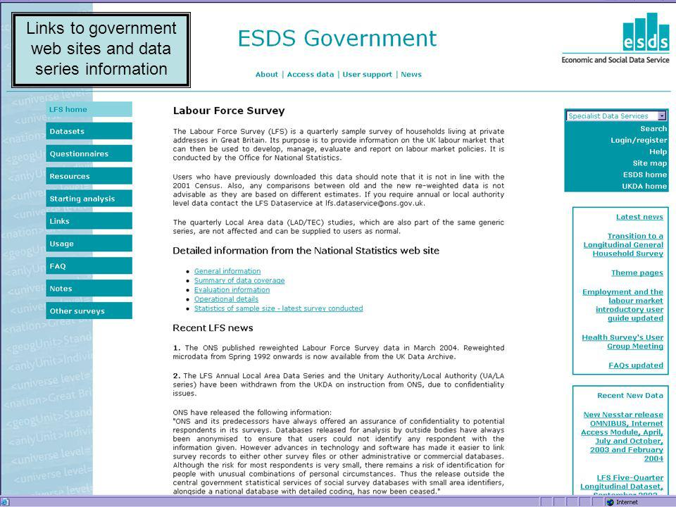Links to government web sites and data series information