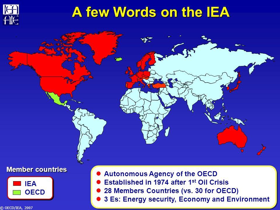 © OECD/IEA, 2007 UN Secretaria de Energía Mexico Harmonisation and Cooperation Mexico is a member country of 4 major organisations 1995199619971998 APEC2653290330873134 IEA2741287230623109 OLADE272229693022 3070 OPEC2618285830223071 UN283429773166 Crude Oil Production for Mexico (in kbd) 3210 5% gap
