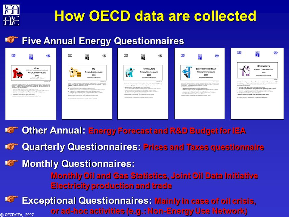 © OECD/IEA, 2007 How the IEA tackles these problems Facilitating the work of newcomers in statistics: Energy Statistics Manual User-friendly electronic questionnaires Training Raising the profile of energy statistics and the role of statisticians Ministerial meetings Governing Board Meetings Harmonisation and Cooperation