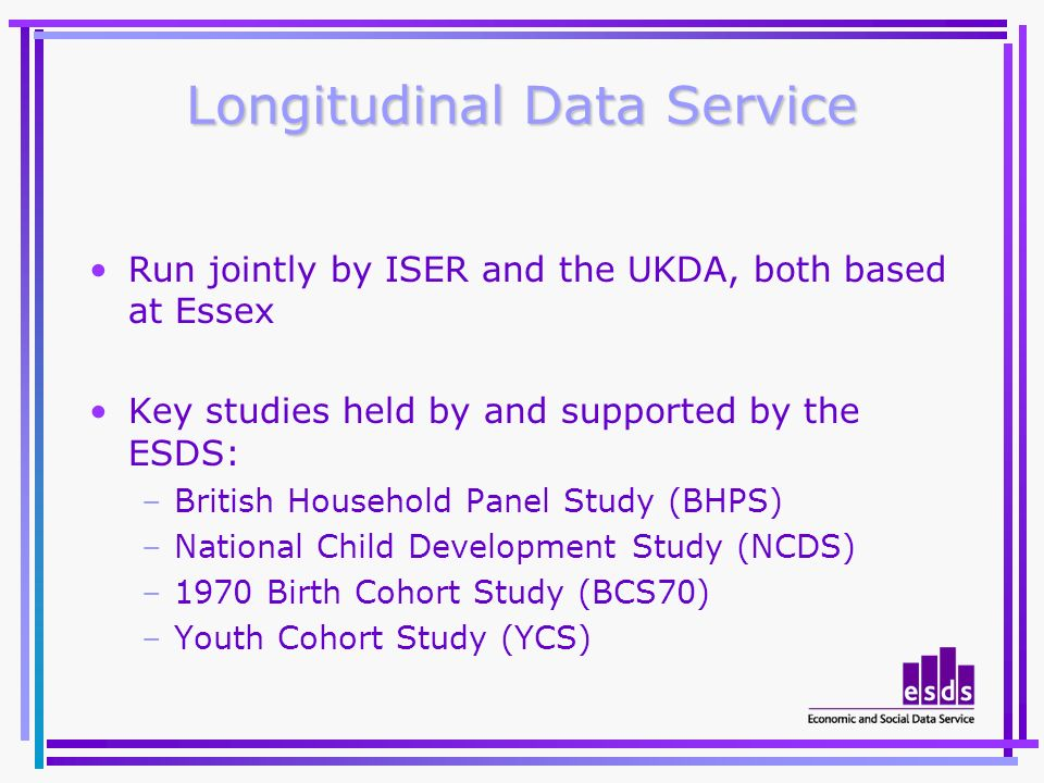 Longitudinal Data Service Run jointly by ISER and the UKDA, both based at Essex Key studies held by and supported by the ESDS: –British Household Pane