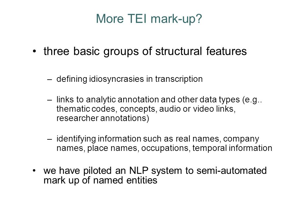 More TEI mark-up.
