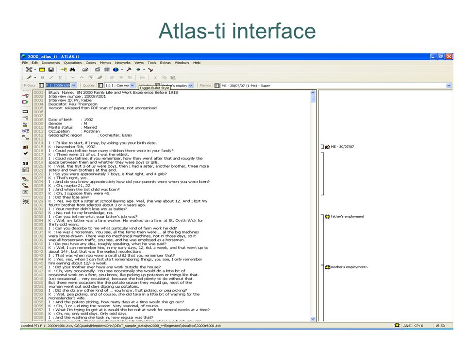 Atlas-ti interface