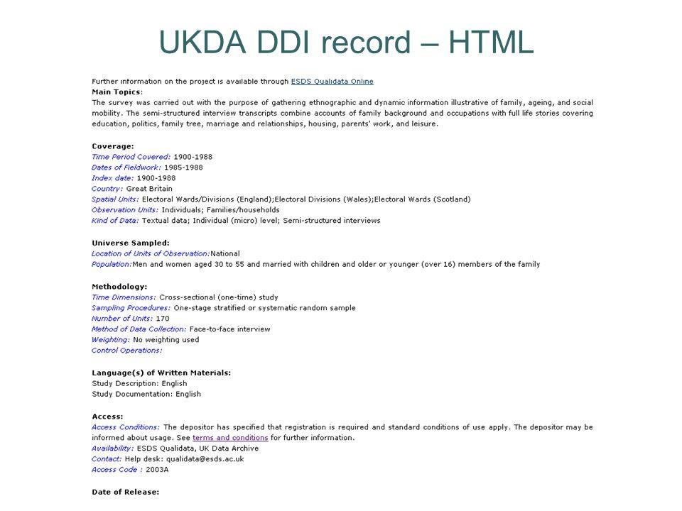 UKDA DDI record – HTML