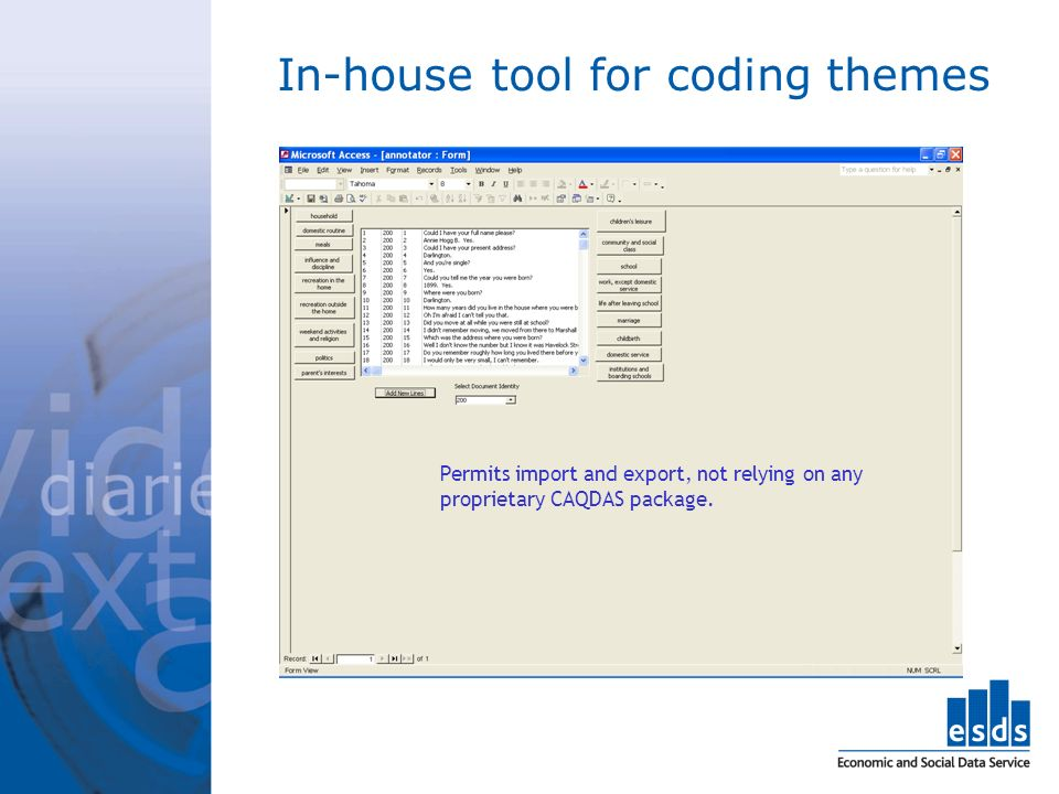 In-house tool for coding themes Permits import and export, not relying on any proprietary CAQDAS package.