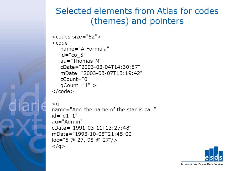 Selected elements from Atlas for codes (themes) and pointers <code name= A Formula id= co_5 au= Thomas M cDate= 2003-03-04T14:30:57 mDate= 2003-03-07T13:19:42 cCount= 0 qCount= 1 > <q name= And the name of the star is ca..