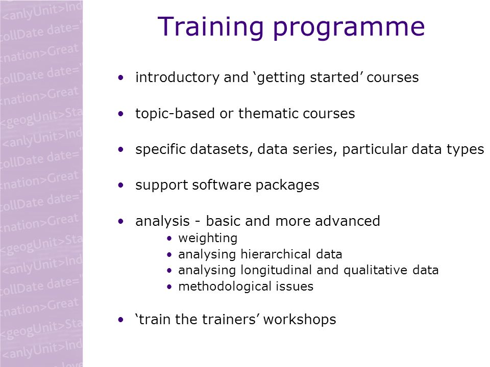 Training programme introductory and getting started courses topic-based or thematic courses specific datasets, data series, particular data types support software packages analysis - basic and more advanced weighting analysing hierarchical data analysing longitudinal and qualitative data methodological issues train the trainers workshops