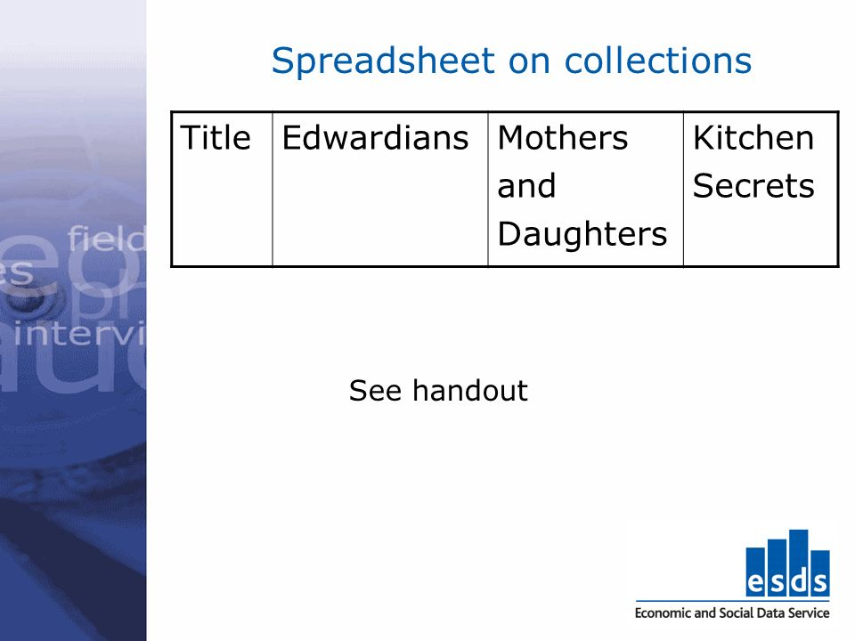 Spreadsheet on collections TitleEdwardiansMothers and Daughters Kitchen Secrets See handout