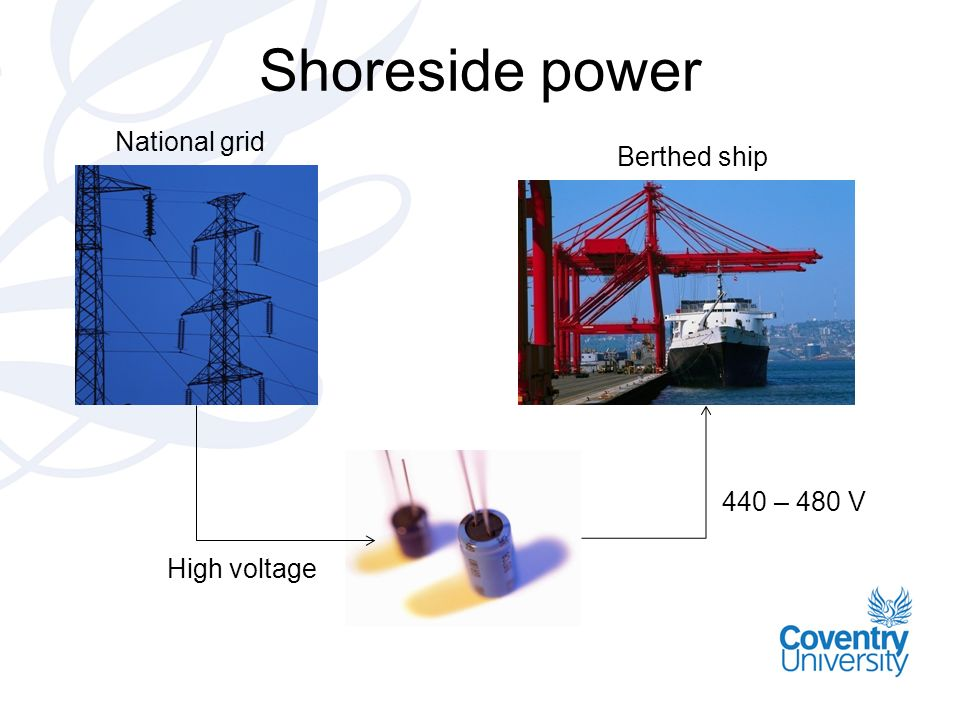 Shoreside power High voltage National grid Berthed ship 440 – 480 V