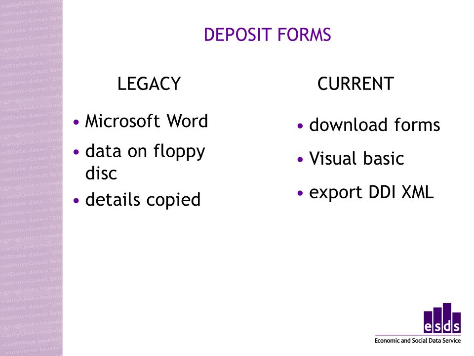 Microsoft Word DEPOSIT FORMS data on floppy disc details copied LEGACYCURRENT download forms Visual basic export DDI XML