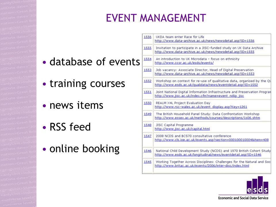 database of events training courses news items online booking RSS feed EVENT MANAGEMENT