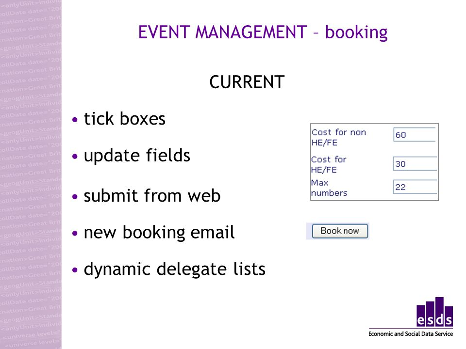 EVENT MANAGEMENT – booking CURRENT tick boxes update fields submit from web new booking email dynamic delegate lists