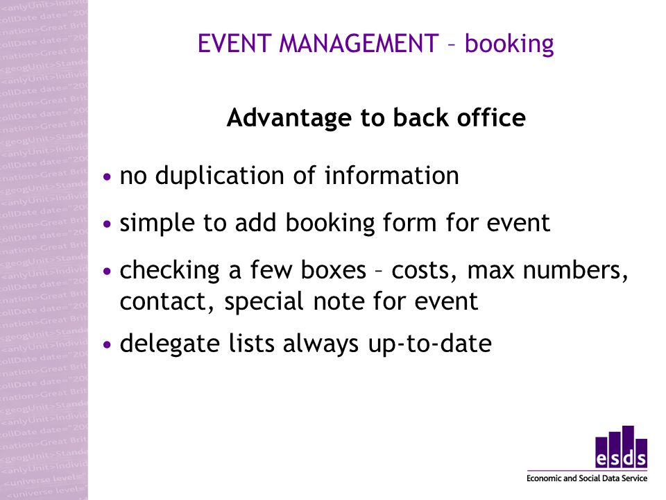 checking a few boxes – costs, max numbers, contact, special note for event Advantage to back office EVENT MANAGEMENT – booking no duplication of information simple to add booking form for event delegate lists always up-to-date