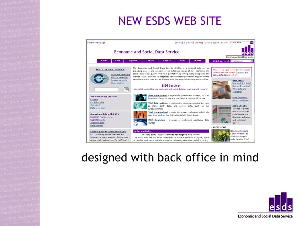 NEW ESDS WEB SITE designed with back office in mind