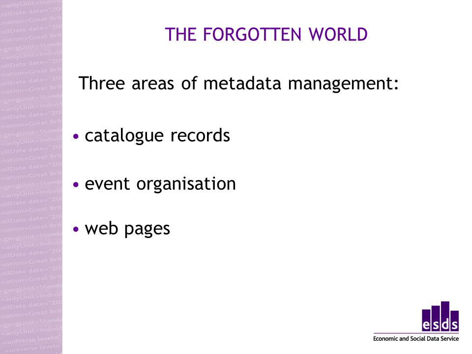 THE FORGOTTEN WORLD web pages catalogue records event organisation Three areas of metadata management: