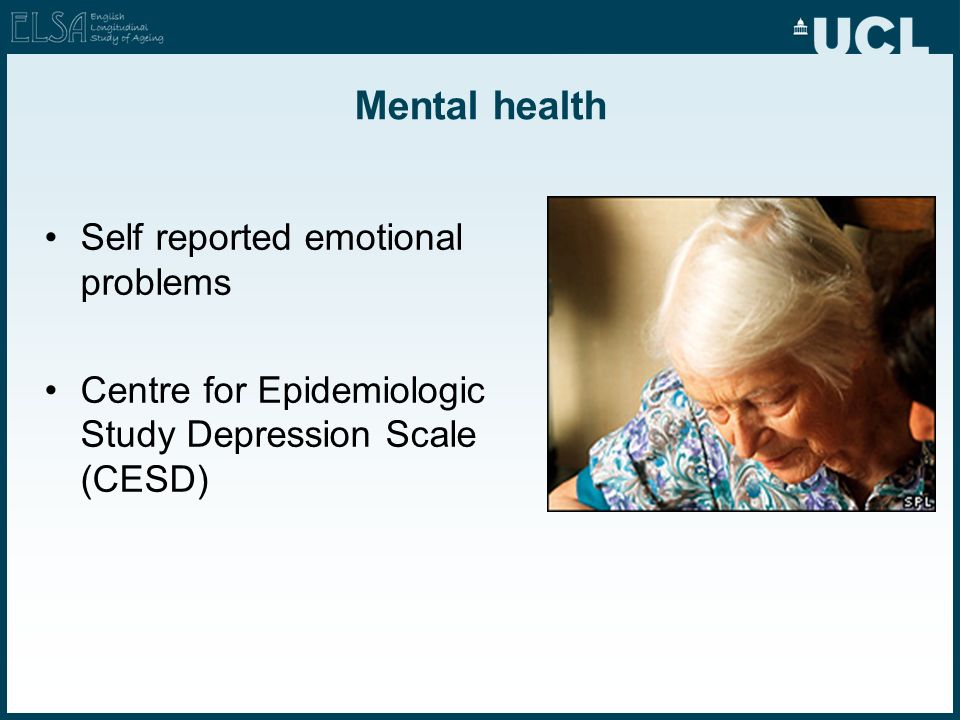 Mental health Self reported emotional problems Centre for Epidemiologic Study Depression Scale (CESD)