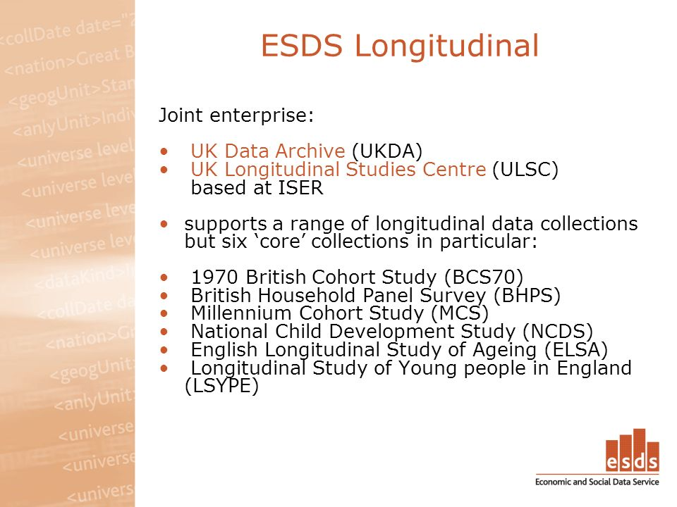ESDS Longitudinal Joint enterprise: UK Data Archive (UKDA) UK Longitudinal Studies Centre (ULSC) based at ISER supports a range of longitudinal data collections but six core collections in particular: 1970 British Cohort Study (BCS70) British Household Panel Survey (BHPS) Millennium Cohort Study (MCS) National Child Development Study (NCDS) English Longitudinal Study of Ageing (ELSA) Longitudinal Study of Young people in England (LSYPE)