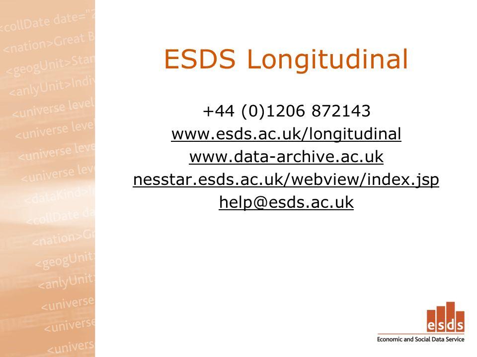 ESDS Longitudinal +44 (0)1206 872143 www.esds.ac.uk/longitudinal www.data-archive.ac.uk nesstar.esds.ac.uk/webview/index.jsp help@esds.ac.uk