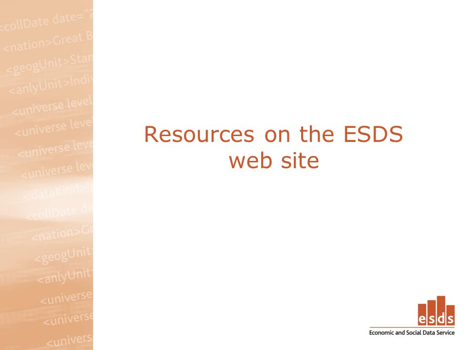 Resources on the ESDS web site