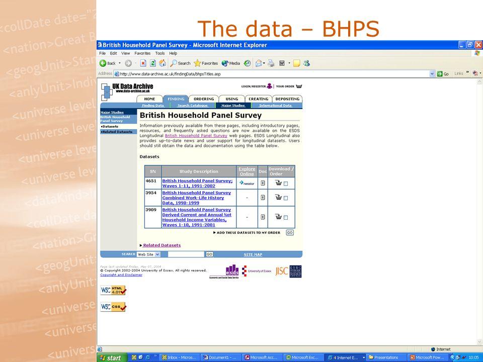 The data – BHPS