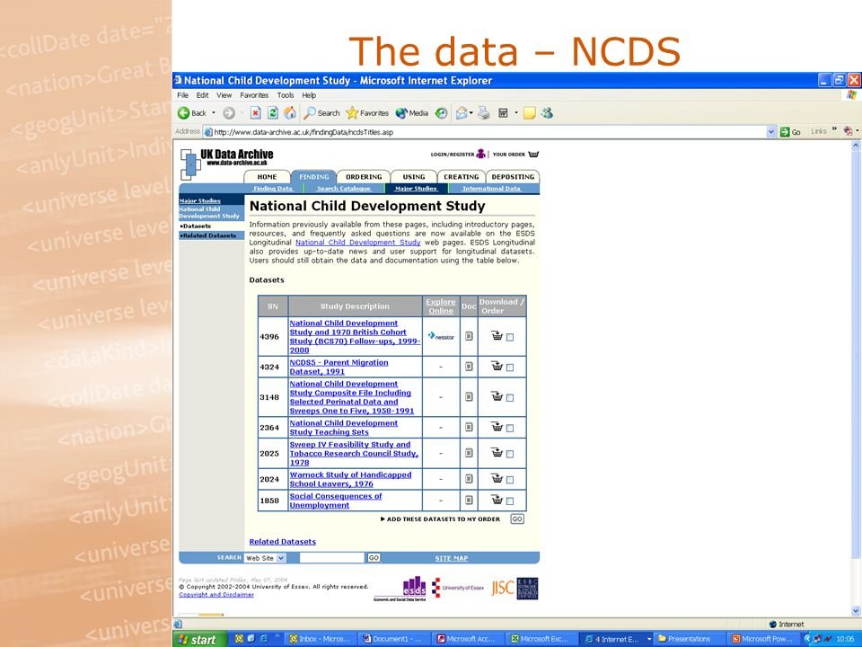 The data – NCDS