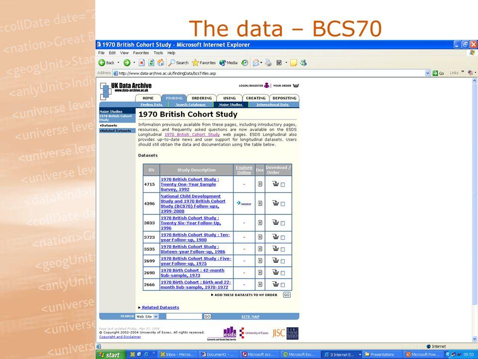 The data – BCS70