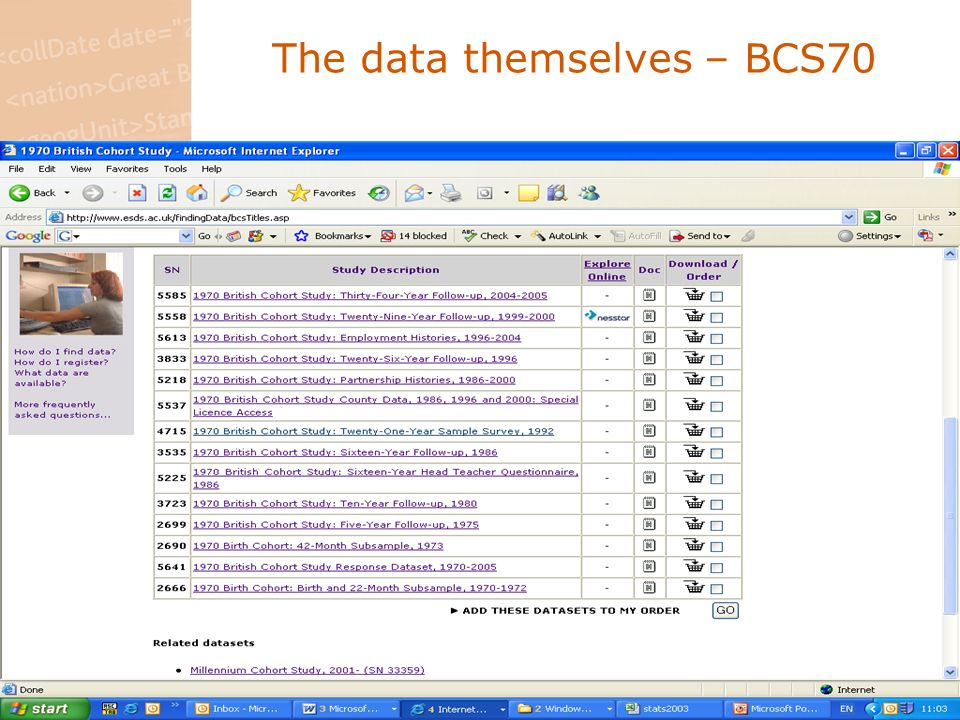 Data not held by the ESDS some additional data, derived from further minor data collections, data cleaning etc., only available via CLS at present these data are added to the ESDS collection from time to time