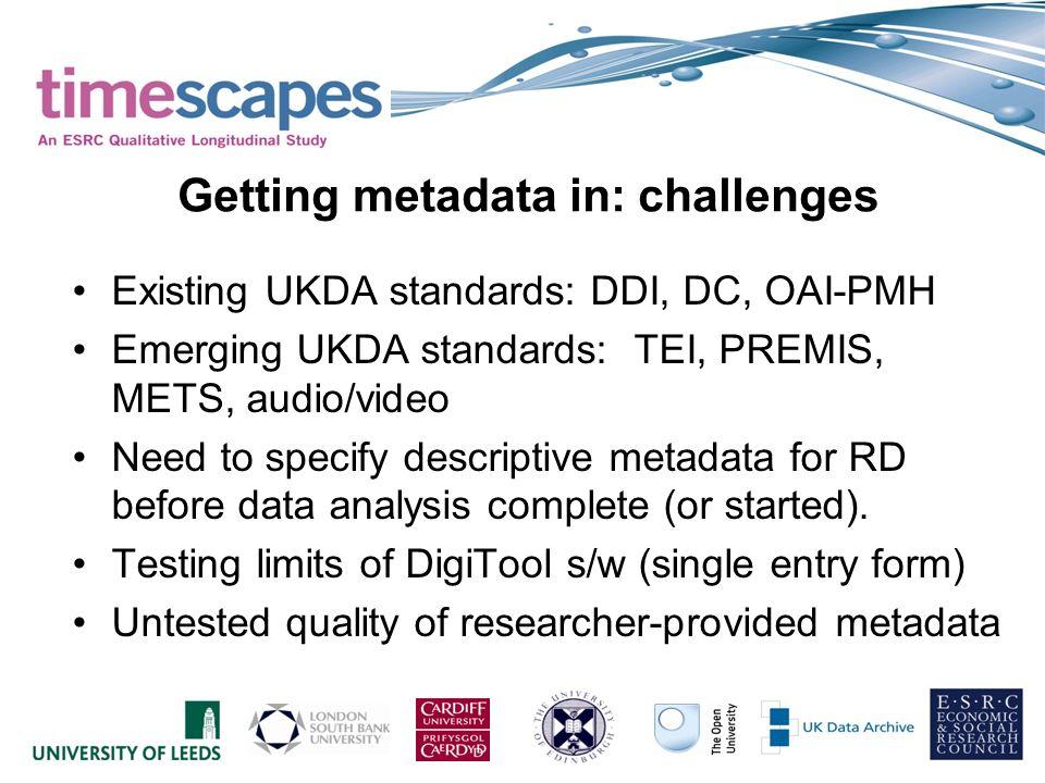 Existing UKDA standards: DDI, DC, OAI-PMH Emerging UKDA standards: TEI, PREMIS, METS, audio/video Need to specify descriptive metadata for RD before d