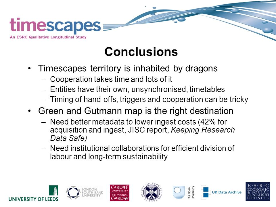 Timescapes territory is inhabited by dragons –Cooperation takes time and lots of it –Entities have their own, unsynchronised, timetables –Timing of hand-offs, triggers and cooperation can be tricky Green and Gutmann map is the right destination –Need better metadata to lower ingest costs (42% for acquisition and ingest, JISC report, Keeping Research Data Safe) –Need institutional collaborations for efficient division of labour and long-term sustainability Conclusions