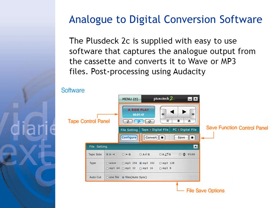 Analogue to Digital Conversion Software The Plusdeck 2c is supplied with easy to use software that captures the analogue output from the cassette and
