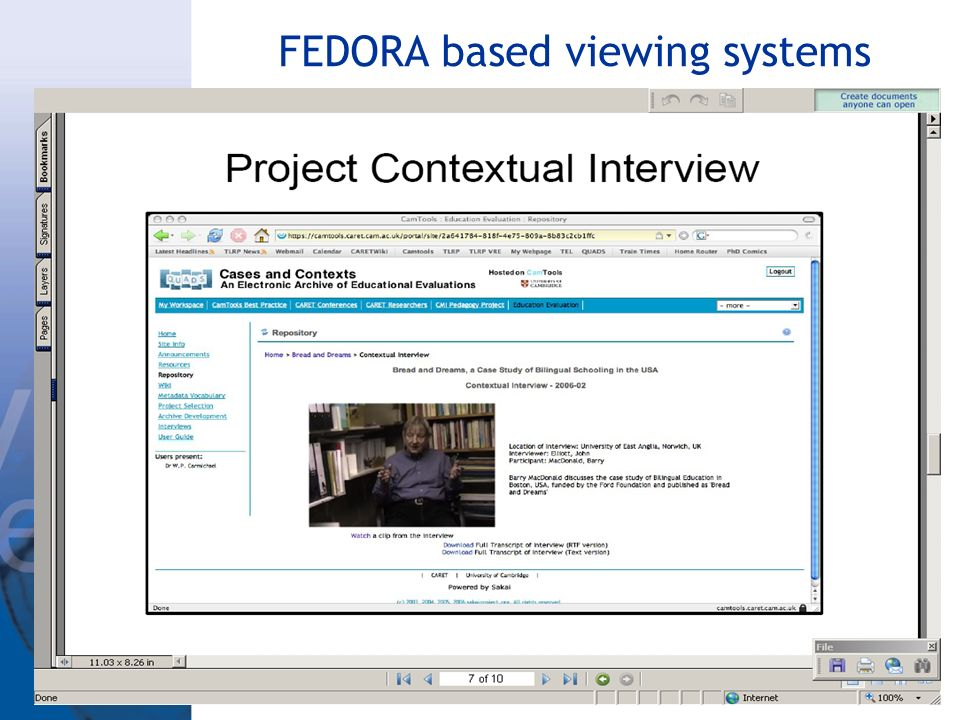 FEDORA based viewing systems