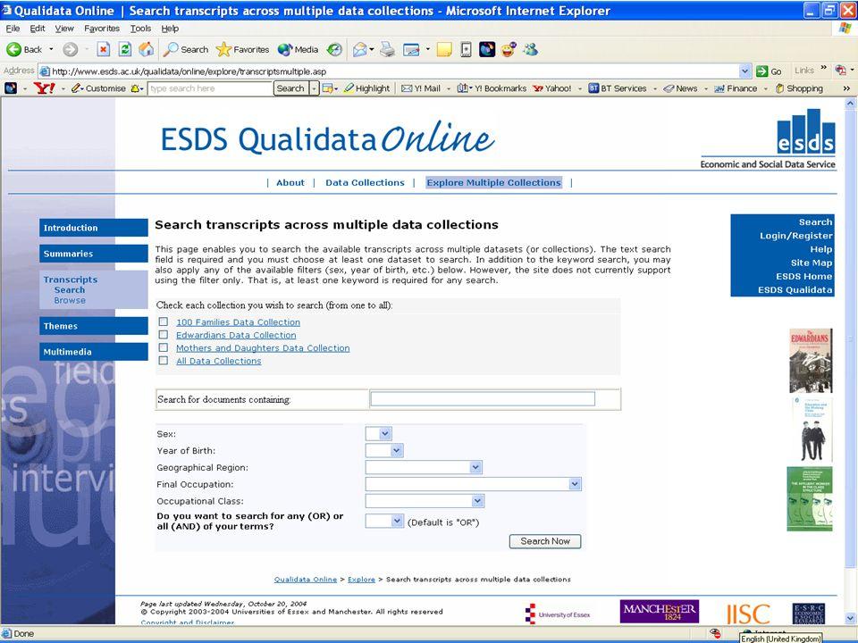 Using ESDS Qualidata Online