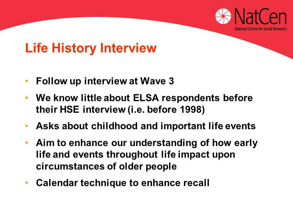 Life History Interview Follow up interview at Wave 3 We know little about ELSA respondents before their HSE interview (i.e.