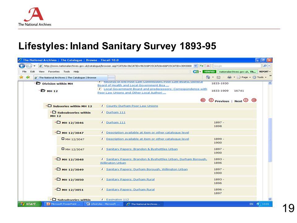 Lifestyles: Inland Sanitary Survey 1893-95 19