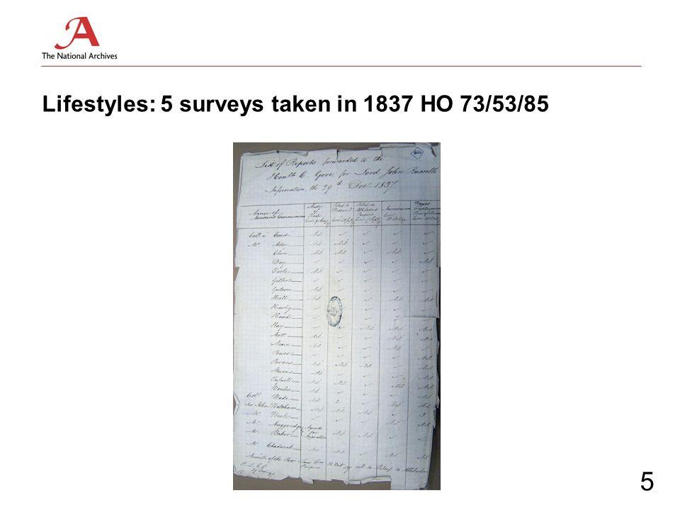 Lifestyles: 5 surveys taken in 1837 HO 73/53/85 5