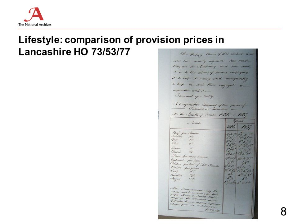Lifestyle: comparison of provision prices in Lancashire HO 73/53/77 8