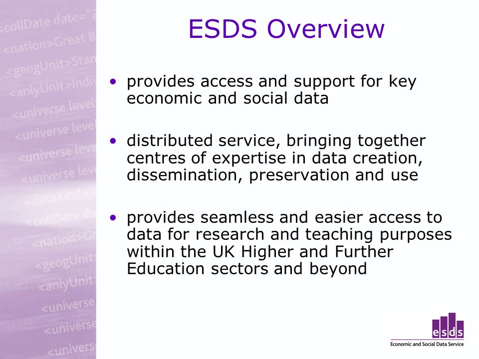 ESDS Overview provides access and support for key economic and social data distributed service, bringing together centres of expertise in data creatio