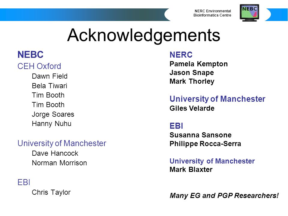NERC Environmental Bioinformatics Centre Acknowledgements NEBC CEH Oxford Dawn Field Bela Tiwari Tim Booth Jorge Soares Hanny Nuhu University of Manchester Dave Hancock Norman Morrison EBI Chris Taylor NERC Pamela Kempton Jason Snape Mark Thorley University of Manchester Giles Velarde EBI Susanna Sansone Philippe Rocca-Serra University of Manchester Mark Blaxter Many EG and PGP Researchers!