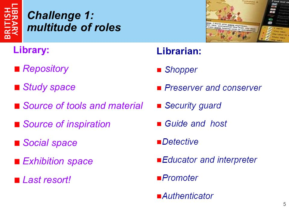 5 Challenge 1: multitude of roles Library: Repository Study space Source of tools and material Source of inspiration Social space Exhibition space Las