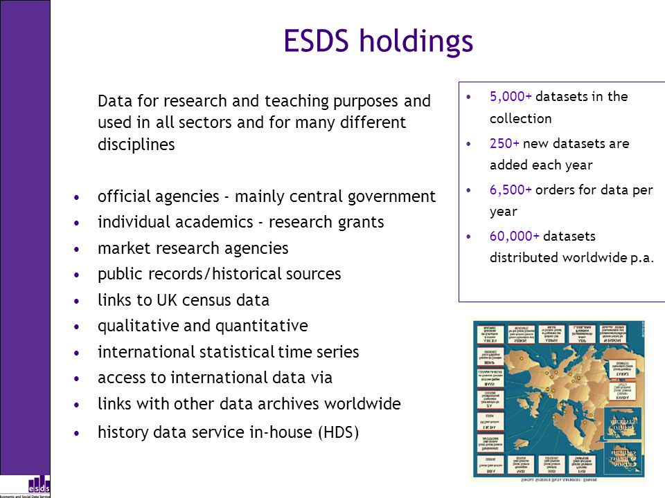 ESDS holdings Data for research and teaching purposes and used in all sectors and for many different disciplines official agencies - mainly central go