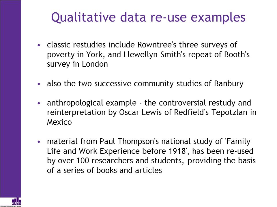 Qualitative data re-use examples classic restudies include Rowntree s three surveys of poverty in York, and Llewellyn Smith s repeat of Booth s survey in London also the two successive community studies of Banbury anthropological example - the controversial restudy and reinterpretation by Oscar Lewis of Redfield s Tepotzlan in Mexico material from Paul Thompson s national study of Family Life and Work Experience before 1918 , has been re-used by over 100 researchers and students, providing the basis of a series of books and articles