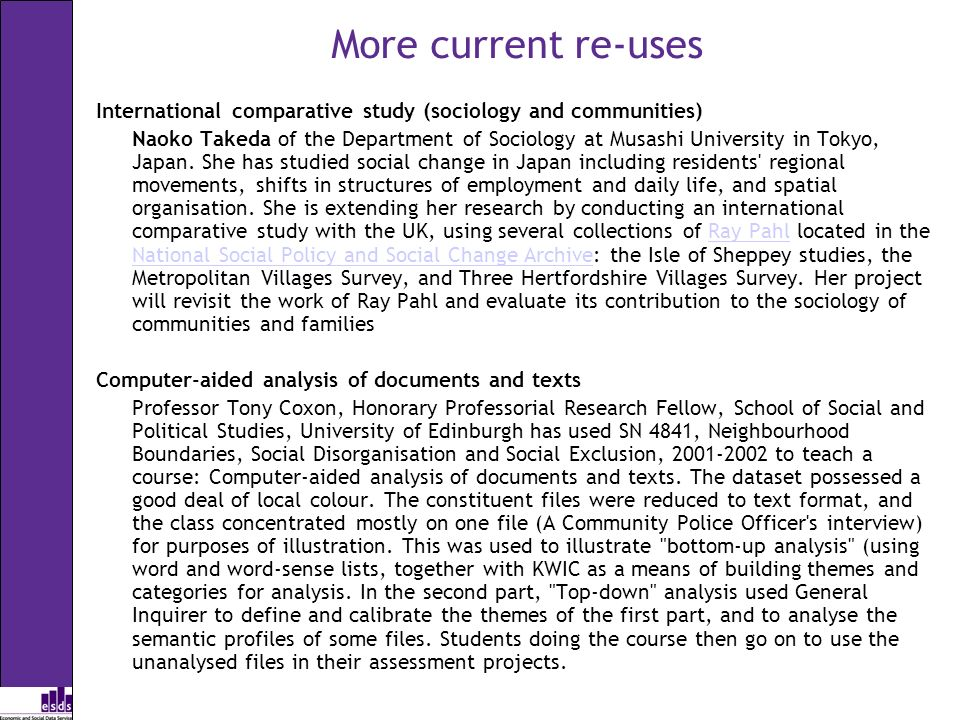 More current re-uses International comparative study (sociology and communities) Naoko Takeda of the Department of Sociology at Musashi University in