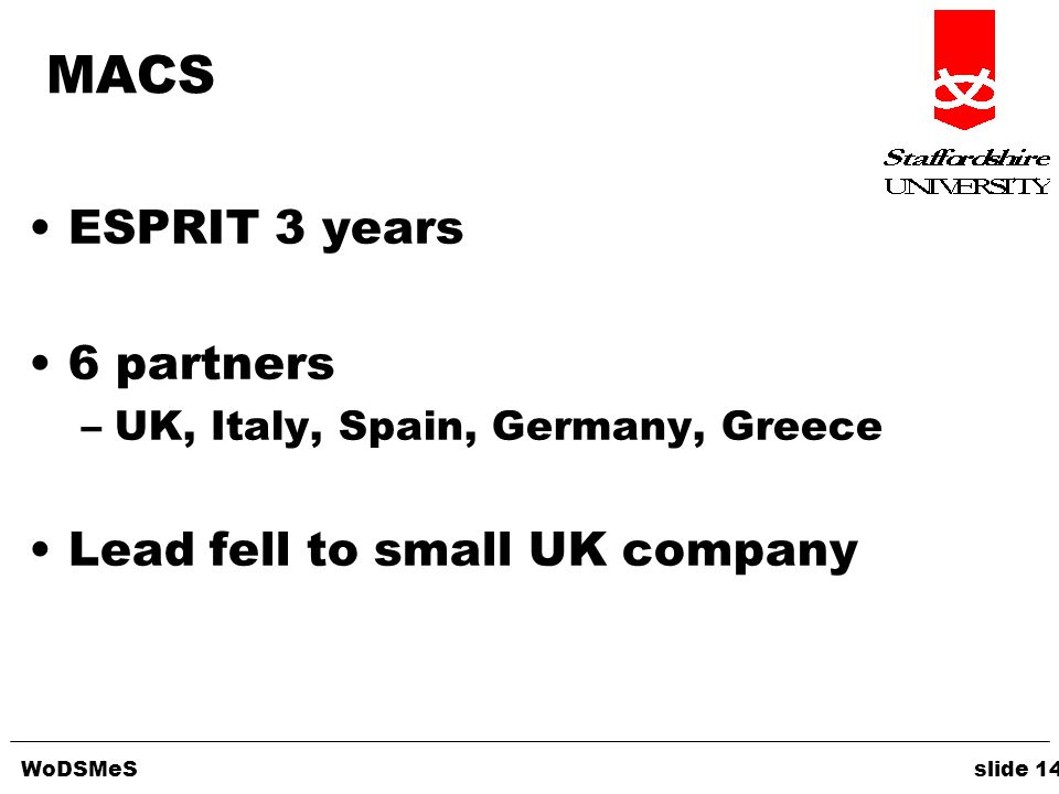 WoDSMeS slide 14 MACS ESPRIT 3 years 6 partners –UK, Italy, Spain, Germany, Greece Lead fell to small UK company