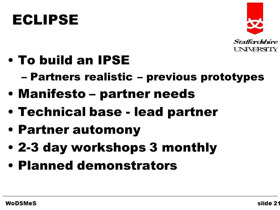 WoDSMeS slide 21 ECLIPSE To build an IPSE –Partners realistic – previous prototypes Manifesto – partner needs Technical base - lead partner Partner au