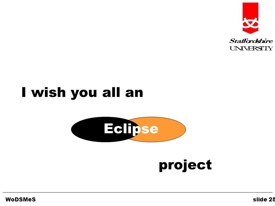 WoDSMeS slide 25 I wish you all an Eclipse project