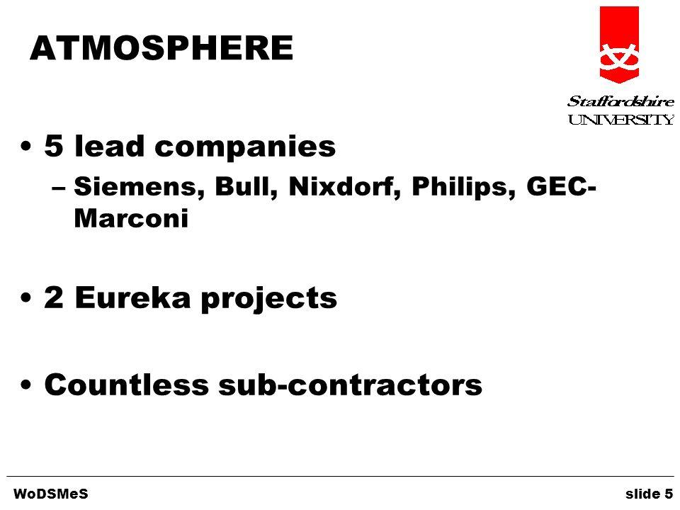 WoDSMeS slide 5 ATMOSPHERE 5 lead companies –Siemens, Bull, Nixdorf, Philips, GEC- Marconi 2 Eureka projects Countless sub-contractors