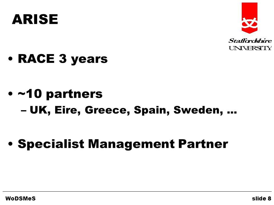 WoDSMeS slide 8 ARISE RACE 3 years ~10 partners –UK, Eire, Greece, Spain, Sweden,... Specialist Management Partner