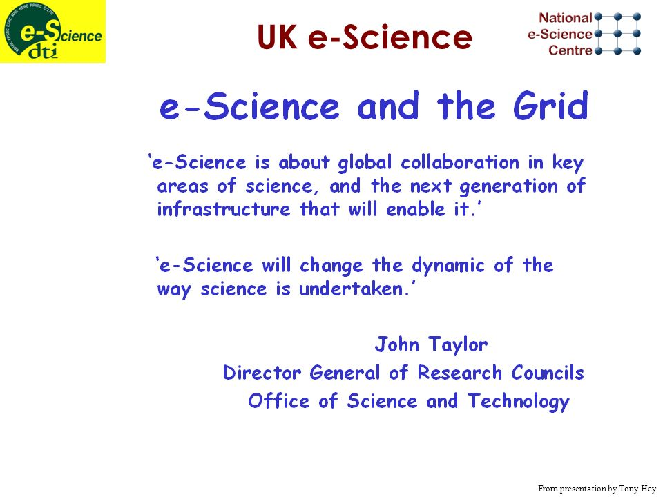 UK e-Science From presentation by Tony Hey